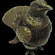 Arthur Court Wood and Brass Bird Inkwell  - 1977
