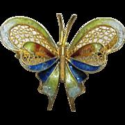 Italian Gold Over 800 Standard Silver Filagree Butterfly Brooch / Pin
