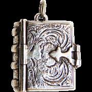 Rare Opening Book Vintage Art Nouveau Sterling Locket Pendant