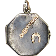 Niello Enamel Horse Shoe Antique Victorian Locket Pendant