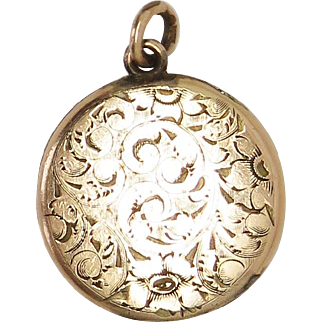 Ornate Hand Chased GF Antique Victorian Locket Pendant
