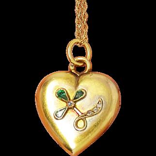14k Emerald & Diamond Antique Art Nouveau Locket Pendant & Necklace