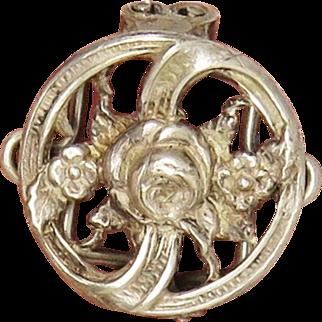 Stunning Floral Antique Art Nouveau Slide for Necklace Guard Chain