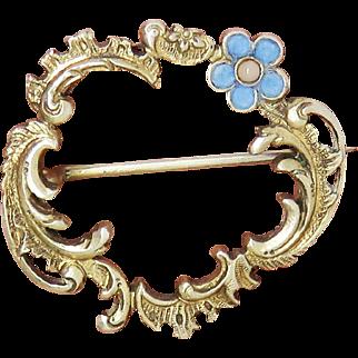 Exceptional Enamel Pearl Rococo Antique Art Nouveau Locket Brooch Pin