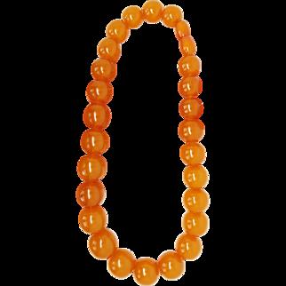 Gorgeous Amber Bakelite Beaded Big Bead Vintage Necklace Chain
