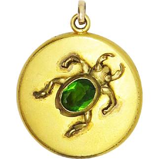 Jeweled Scarab Egyptian Revival Antique Victorian Locket Pendant