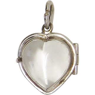 Heart Pools of Light Silver Antique Victorian Locket Pendant Charm