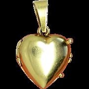 14K Solid Gold Puffy Heart Italian Vintage Locket Pendant Charm