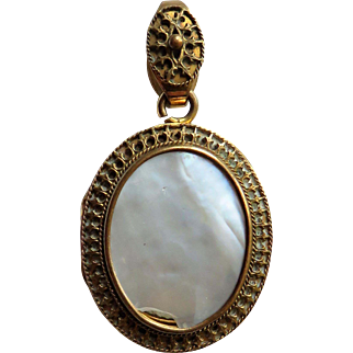 Rock Crystal & Mother of Pearl Antique Victorian Locket Pendant