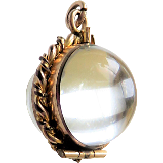 Pools of Light Rock Crystal Antique Victorian Watch Fob Locket Pendant