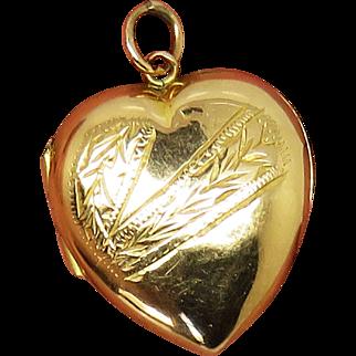 9ct Front & Back Heart Antique Victorian Locket Pendant Charm