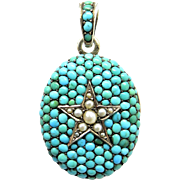 Turquoise & Pearl Star Austro-Hungarian Antique Victorian Locket Pendant
