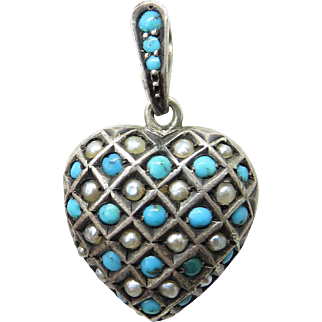 Turquoise & Pearl Silver Heart Antique Victorian Locket Pendant