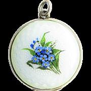 Askel Holmsen Pearlescent Guilloche Enamel Antique Art Nouveau Locket Pendant
