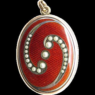 Divine Red Guilloche Enamel Pearls 1/10 Gold Antique Locket Pendant