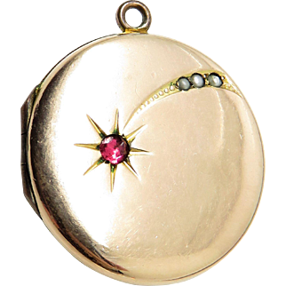 Rare Shooting Star Jeweled Antique Victorian Locket Pendant Watch Fob
