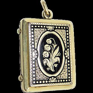 14k GF Enamel Lily of the Valley Antique Art Nouveau Locket Pendant