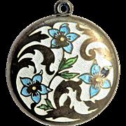 Forget-Me-Not Guilloche Enamel Antique Art Nouveau Locket Pendant