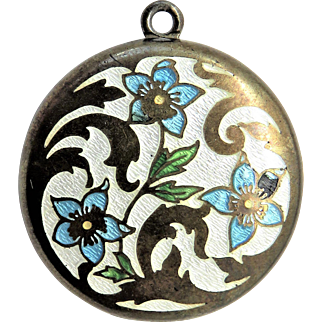 Forget-Me-Not Guilloche Enamel Antique Art Nouveau Locket Pendant