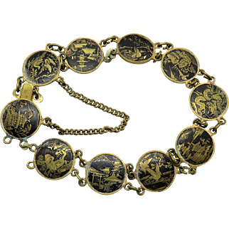 Asian Damascene Dragon Pagoda Bird Antique Bracelet Chain