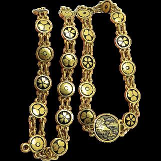 Asian Damascene Flowers Art Nouveau Vintage Necklace Bracelet Chain