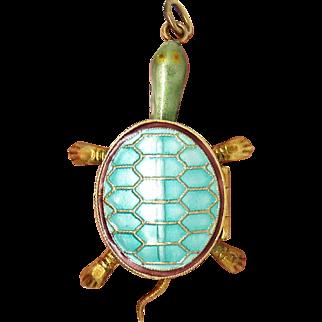 Unique Articulated Enamel Turtle Silver Vintage Locket Pendant