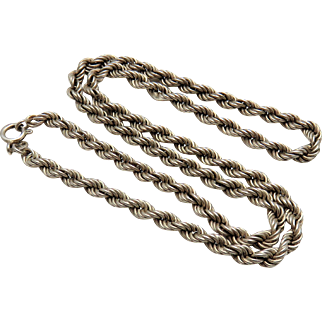 Sterling Silver Vintage Chunky Rope Twist Necklace Locket Collar Chain