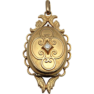 Beautiful French Gold Fill Antique Victorian Locket Pendant