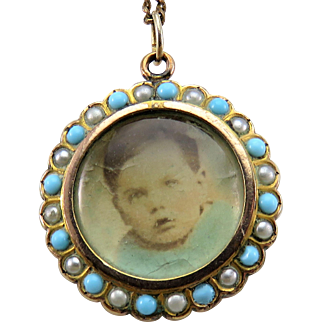 Gorgeous Turquoise & Pearl Antique Victorian Locket Pendant & Necklace Chain