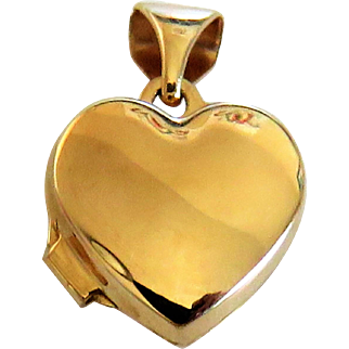 Tiny Solid Gold 9k 585 Vintage Heart Locket Charm Pendant