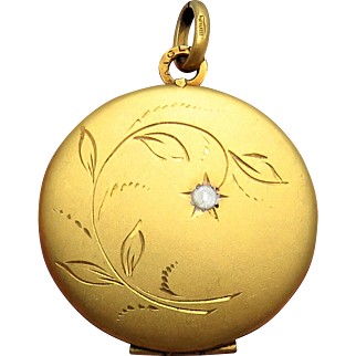 French Lily of the Valley 18ct Gold Fill Art Nouveau Antique Locket Pendant