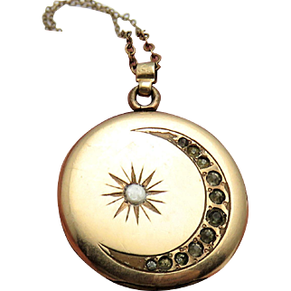 Crescent Moon & Star Antique Victorian Locket Pendant on Necklace Chain