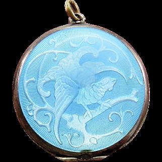 Extremely Unusual Bird Guilloche Enamel Antique Art Nouveau Locket Pendant