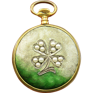 Guilloche Enamel Four Leaf Clover Pearl Antique Art Nouveau Locket Pendant