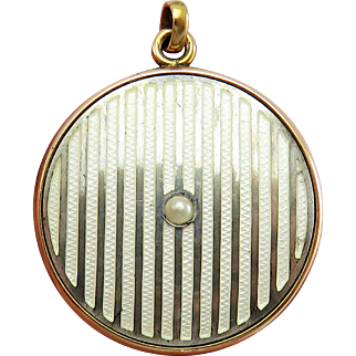 White Guilloche Enamel w Pearl Wedding Set Antique Victorian Locket Pendant