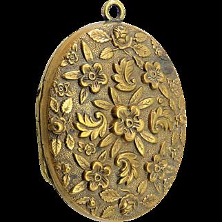Raised Floral Forget-Me-Nots Brass Antique Victorian Locket Pendant