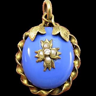 Exquisite Blue Enamel & Pearl Antique Art Nouveau Locket Pendant