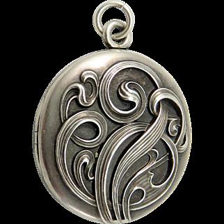 Exceptional Swirling Art Nouveau Antique Sterling Silver Locket Pendant
