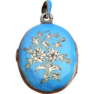 Large Austro Hungarian Blue Enamel Antique Art Nouveau Locket Pendant