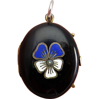 Black Enamel Pansy Silver Antique Art Nouveau Locket Pendant