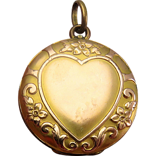 Ornate Heart Gold Fill Antique Victorian Locket Pendant