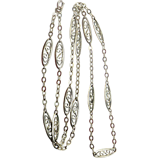 Ornate French Silver Antique Art Nouveau Necklace Chain for Locket Pendant