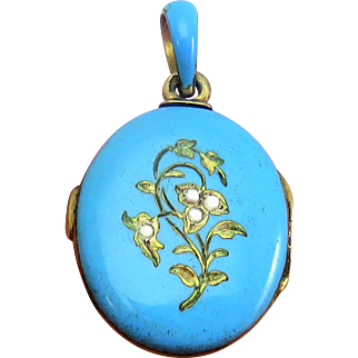 Austro Hungarian Blue Enamel Antique Art Nouveau Locket Pendant