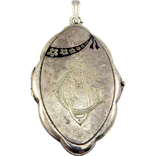 Blue Enamel Alpacca Antique Art Nouveau Locket Pendant