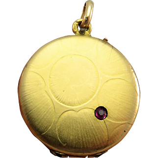 French Gold Fill Ruby Art Deco Design Antique Locket Pendant