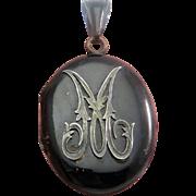 """M"" Black Enamel Antique Victorian Mourning Locket Pendant"