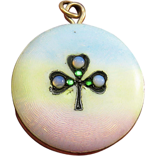 Guilloche Enamel Clover Antique Art Nouveau Pocket Watch Locket Pendant