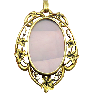 Divine Ivy Open Glass Faced Antique Victorian Locket Pendant