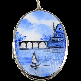Ocean Scene Guilloche Enamel Silver Plated Art Nouveau Locket Pendant