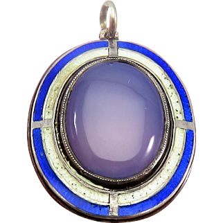 Stunning Chalcedony Guilloche Enamel Antique Victorian Pendant Charm